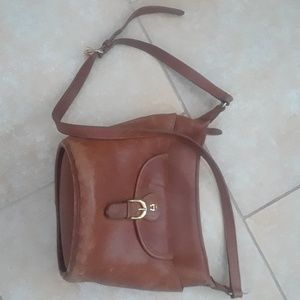 Etienne Aigner brown leather crossbody bag purse
